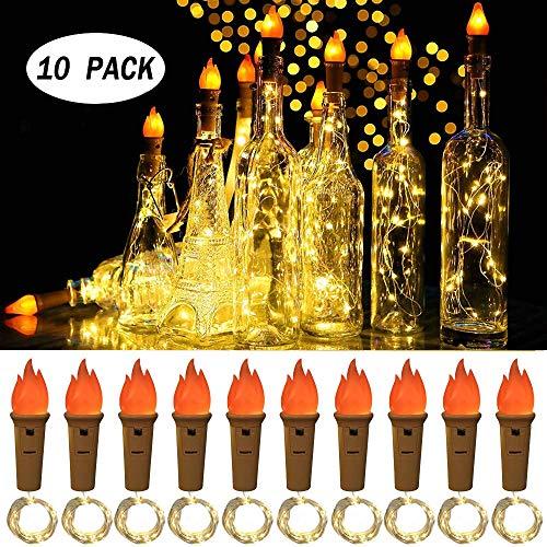 Navidad Luz de Botella Led llama, 10 Pack 2m 20 LED Luces Led para Botellas de Vino Pilas Decorativas Cobre Luz para Romántico Boda, Navidad, Fiesta, Hogar, Exterior, Jardín,Blanco Cálido