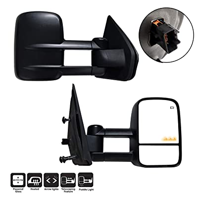 AERDM New towing mirror Black Housing fit 2004-2014 Ford F150 Towing Mirrors w/Blind Spot mirror with Arrow Signal and Puddle Lamp: Automotive