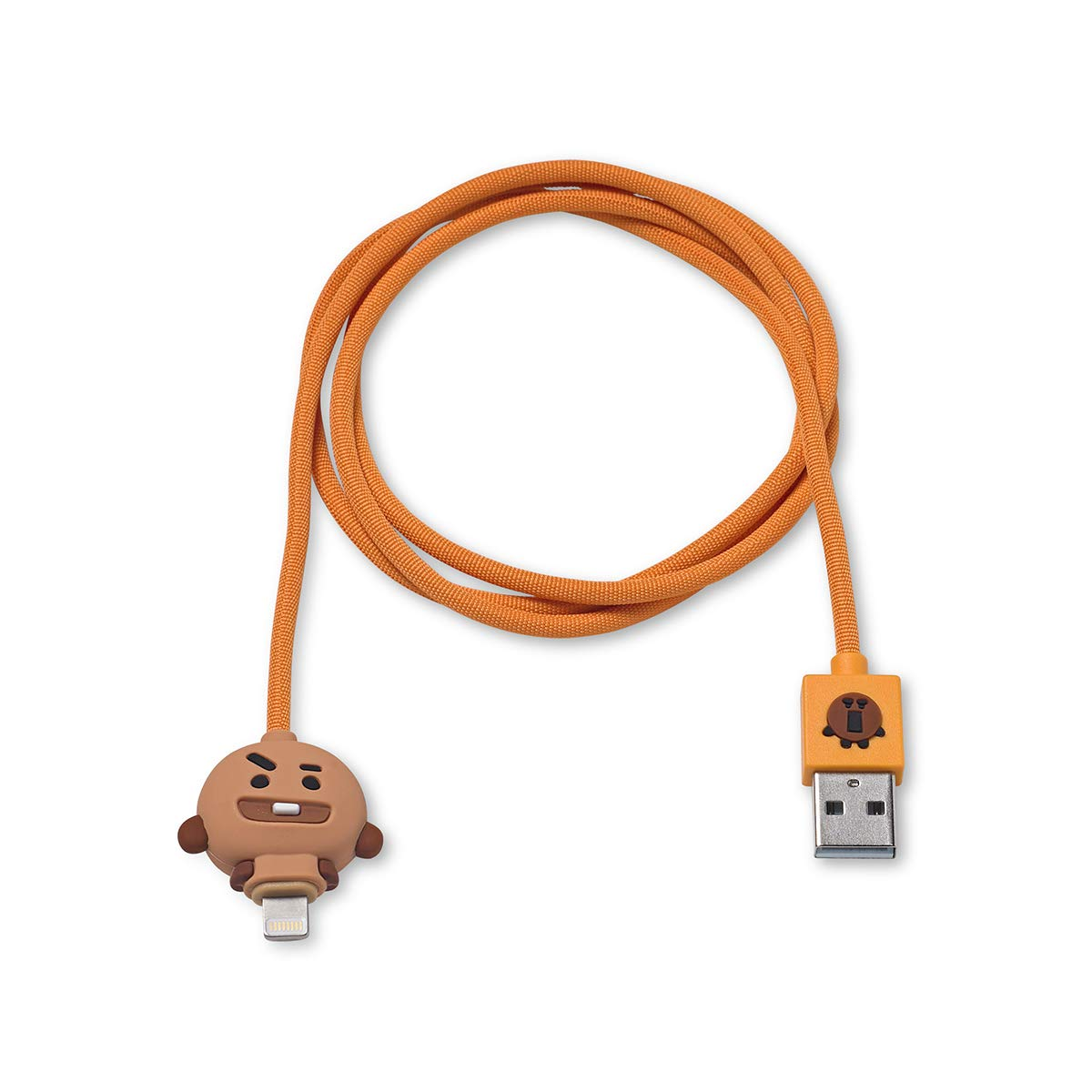 BT21 Official Merchandise by Line Friends - SHOOKY Charger Cable Compatible for iPhone, Brown