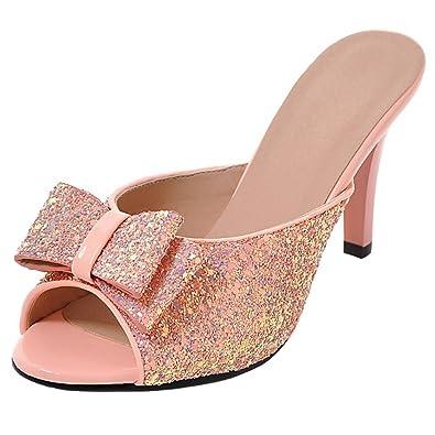 JYshoes Glitzer Pantoletten Stiletto Peep Toe Slingback Sandalen Slippers High Heels Mules