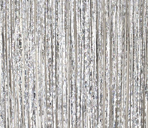 2 Pack - By Haute Soiree - Foil Fringe Curtain Photo Booth Backdrop Party Decoration - 3FT x 8FT (Silver Metallic Sparkle) Perfect for Bachelorette, Birthday and Wedding Parties]()