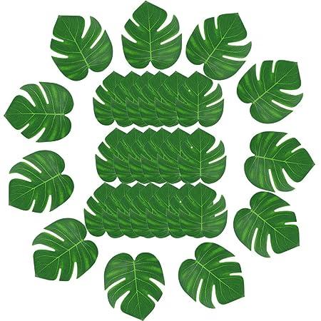 30 pcs artificial tropical palm leaves hawaiian luau party decor