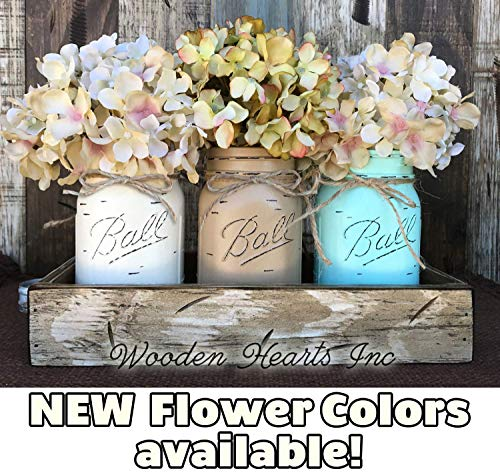 Mason Canning JARS amp Wood ANTIQUE WHITE Tray Spring Centerpiece with 3 Ball Pint Jar Kitchen Table Decor Distressed Rustic Flowers Optional CREAM COFFEE SEAFOAM Painted Jars Pictured