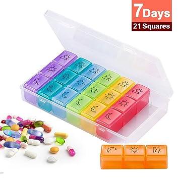 Organizador de pastillas, diseño de varios compartimentos, dispensador de pastillas, con arco iris