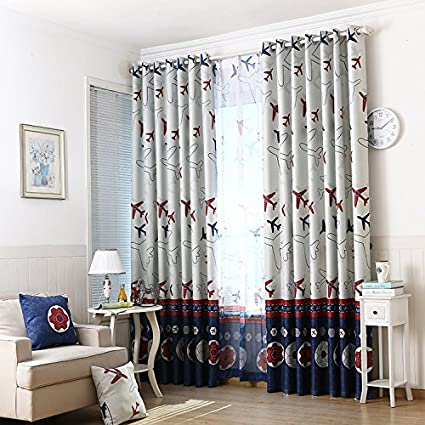 AliFish 1 Panel Lovely Cartoon Airplane And Football Kids Blackout Curtains  Room Darkening Thermal Insulated Grommet