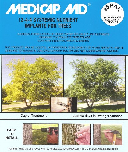 Medicap 25-Pack MD Systemic 12-4-4 Tree Food Implants, 3/8-Inch