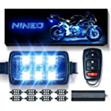 NINEO 8 pcs Motorcycle RGB LED Strip Lights Kit| Multi-Color Neon w/Smart Remote Controller| Compatible with Golf Carts…