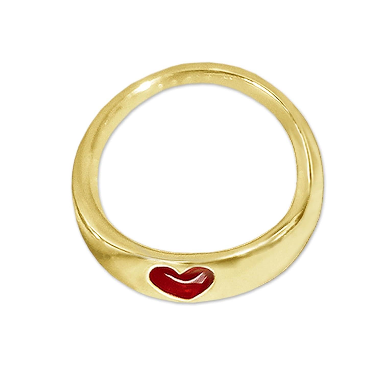 CLEVER SCHMUCK Goldener kleiner Anhänger Mini Taufring Ø 9 mm schmale flache Form mit Herz rot emailliert glänzend 333 GOLD 8 KARAT ahg180