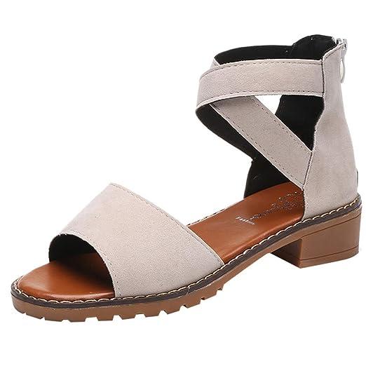 8e38848c28 JJLIKER Women Suede Cross Strappy Low Heel Slip-Ons Sandals Open Toe Summer  Casual Heels