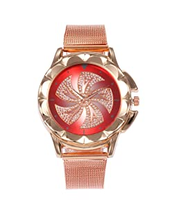 Women's New Style Mesh Belt Watches Fashion Quartz Wrist Watch Red