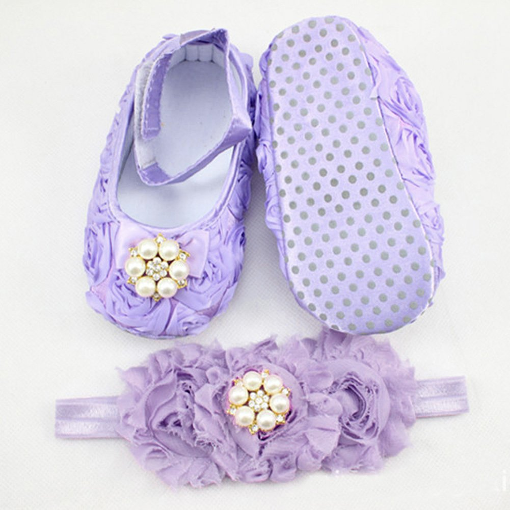 chinatera Baby Girls Shoes Infant Pearl Chiffon Flower Princess First Walkers Sneakers Headband Purple