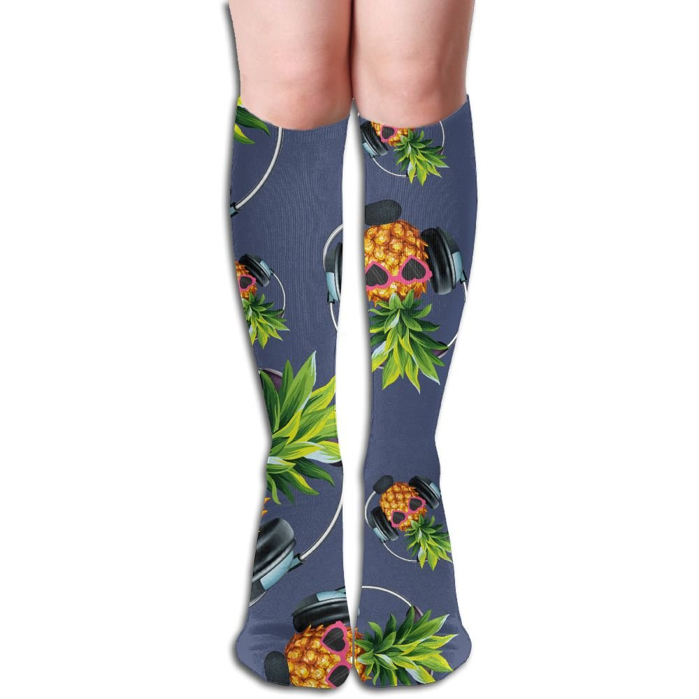 Pineapple Glasses With Headphones Funny Women Patterned Casual Socks Fun Novelty Knee High Socks