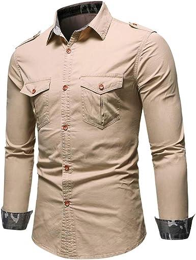 Camisas Hombre, Camisa Verde Camisas para Hombres Camisa de Mezclilla Hombre Camisa Vaquera de BotóN Y Manga Larga Cuello Americano Denim Casual Militar Cargo Slim Fit Estilo Casual Tops Blusa: Amazon.es: Ropa