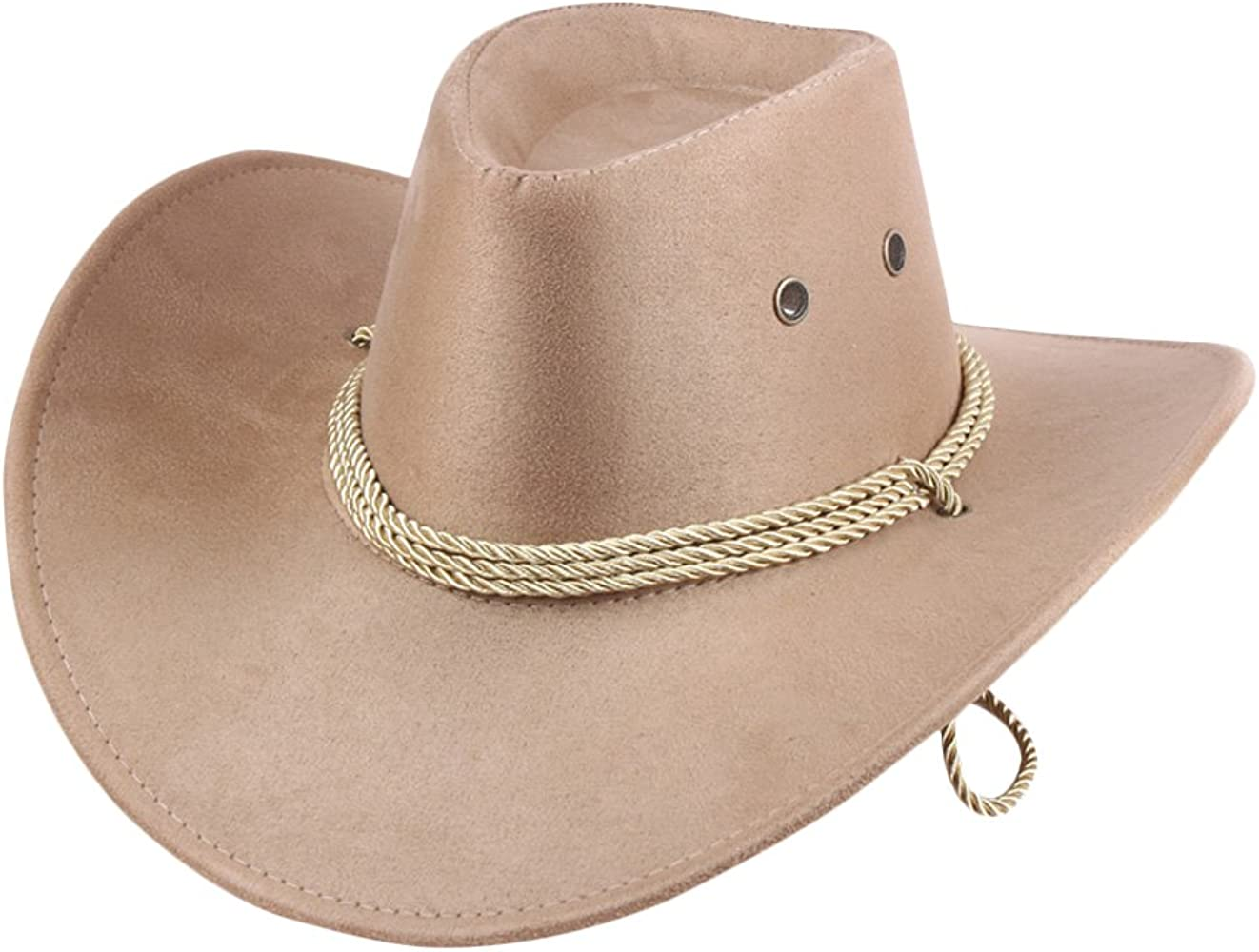 40f1d89fad5c2 UwantC Mens Faux Felt Western Cowboy Hat Fedora Outdoor Wide Brim Hat with  Strap Beige