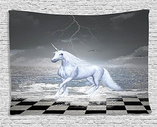 Supersoft Fleece Throw Blanket Unicorn Home and Kids Digital Surreal Sea on Chessboard with Horse Pegasus Myth Print Grey White