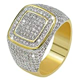 (US) JINAO18K Gold Custer ICED Out Lab Simulated Diamond Band Micropave Mens Bling Ring (8)
