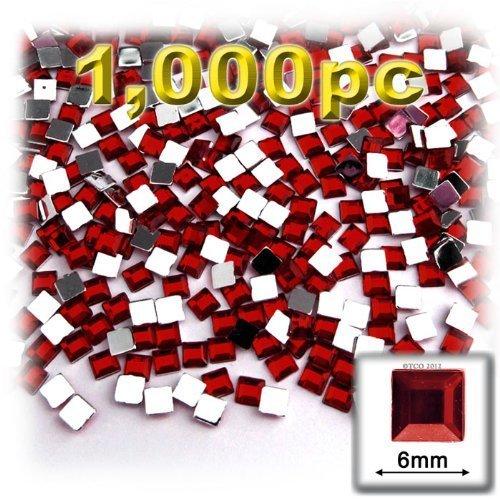 工芸のアウトレット1000-pieceフラットバック正方形ラインストーン、6mm、Devilレッドワイン