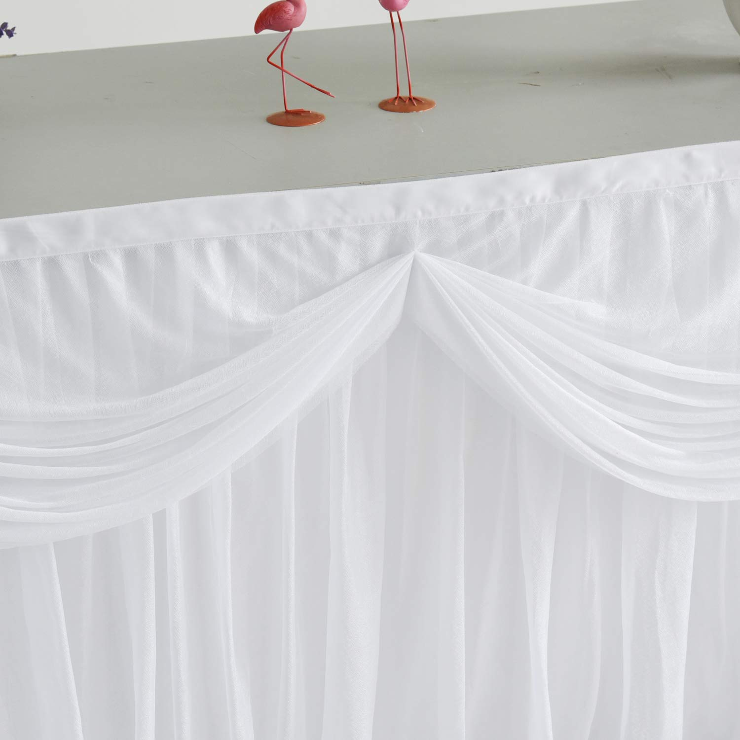6FT White Tulle Table Skirt With Satin Double Drape Tutu Table Skirting for Rectangle or Round Tables banquet table skirt for Party,Wedding,Baby Shower. by CO-AVE