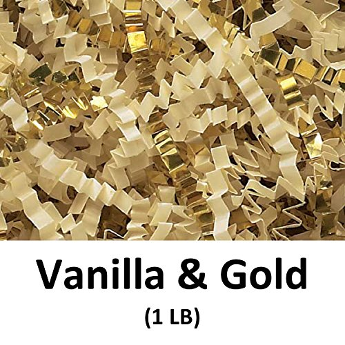 Crinkle Cut Paper Shred Filler (1 LB) for Gift Wrapping & Basket Filling - Vanilla & Gold | MagicWater Supply by MagicWater Supply