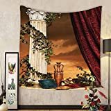 Gzhihine Custom tapestry Gothic Tapestry Greek Style Scene Climber Pillow Fruits Vine and Red Curtain Ancient Figure Sunset for Bedroom Living Room Dorm 60 W X 40 L Multicolor