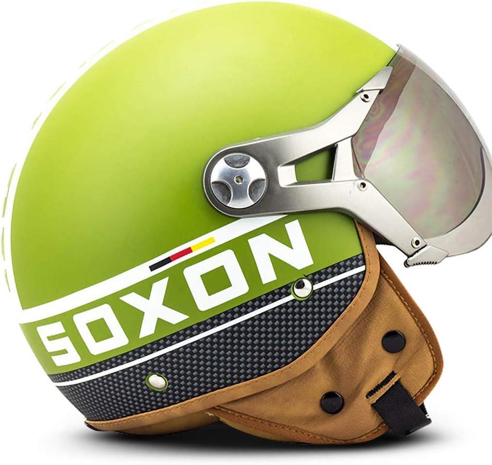 XS ECE certificato 53-54cm Blu Soxon SP-325-PLUS Casco Demi-Jet Moto