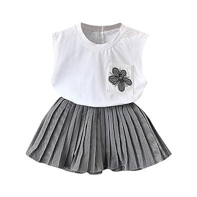 764cfc715c99d VêTements Enfants ADESHOP Mode 2 Pièces Toddler Bébé Fille sans Manches  Fleurs Brodées Gilet Top T