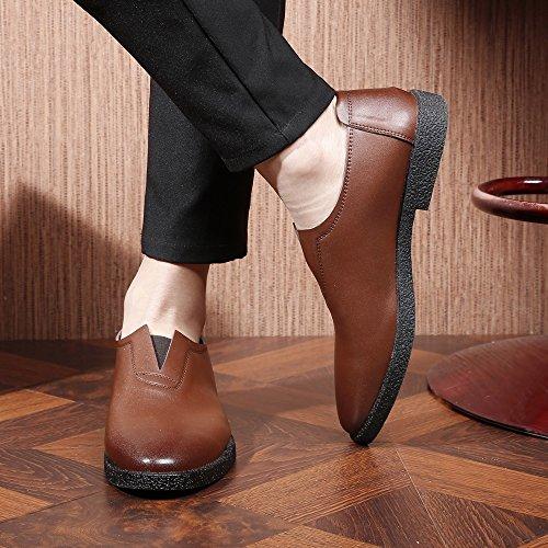 de Cuir Hommes Mocassins Sport 2018 Pointu Véritable Richelieus Chaussures Homme Brown à Brown 44 EU Mocassins Bout Respirant pour Color Size en txYfFfzq