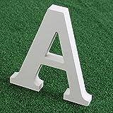 Letras madera blancas alfabeto,Alfabeto de madera blanca pura A-Z Decoraciones modernas Para la boda Cumpleaños Fiesta Casa (A)