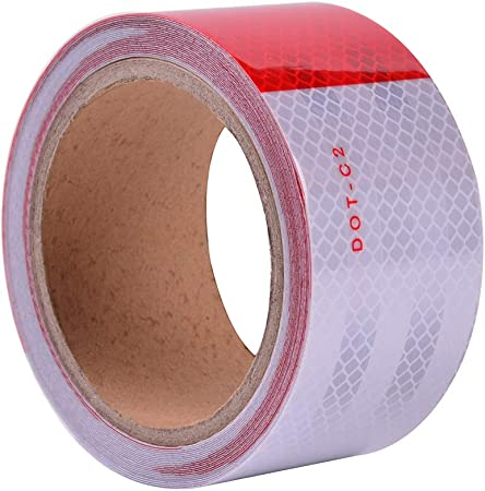 5 FOOT CONTINUOUS ROLL DOT C2 CONSPICUITY TAPE SAFETY REFLECTIVE RED WHITE