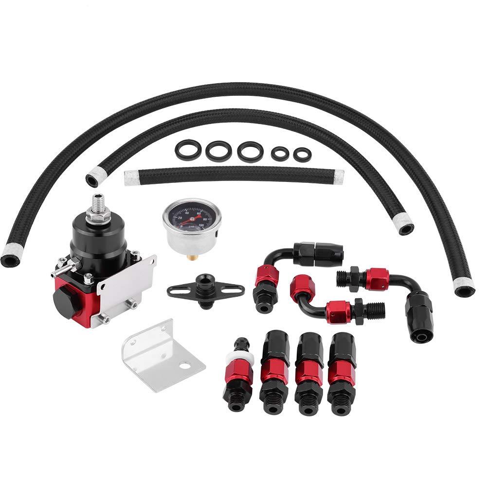 Red-silver 304 Stainless Steel Fuel Pressure Gauge Kit W//Gauge 100PSI Qii lu Universal Adjustable Car Fuel Pressure Regulator