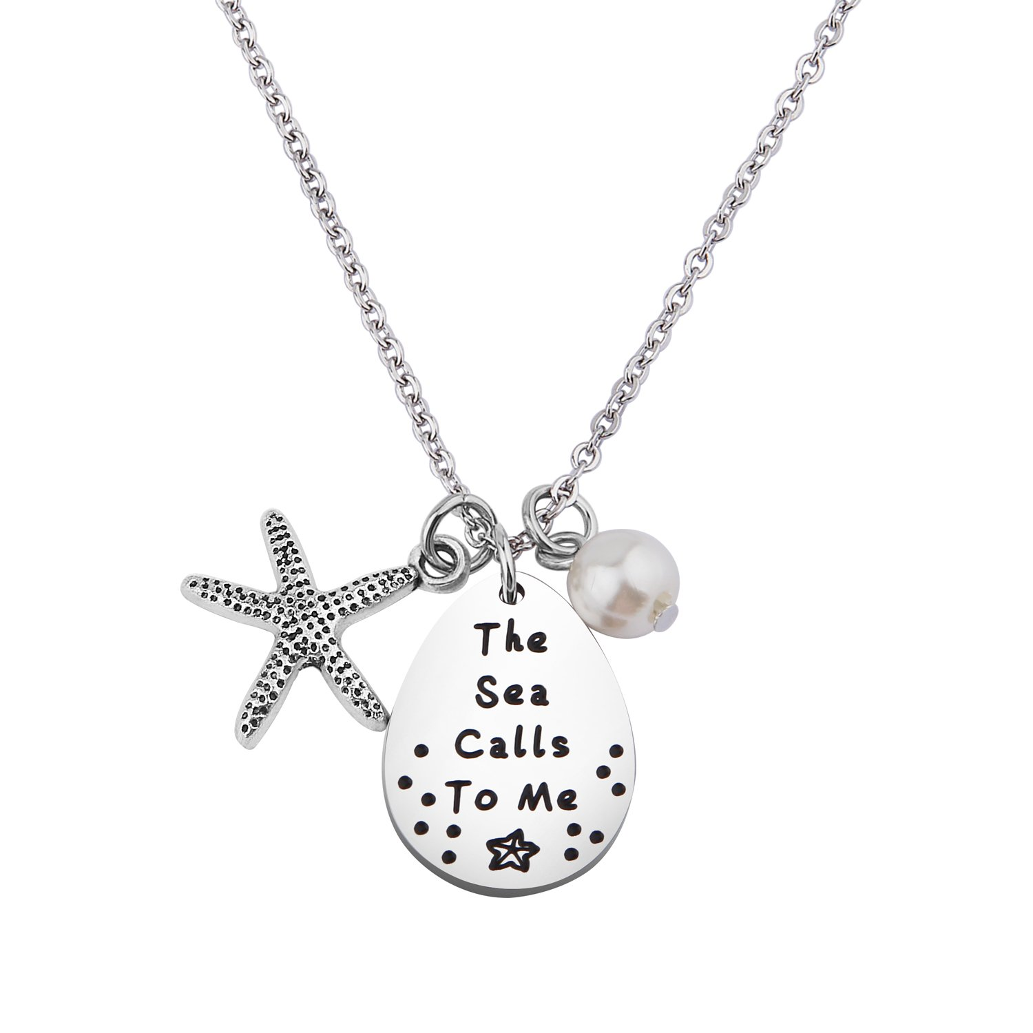 WUSUANED The Sea Calls to Me Starfish Necklace Summer Beach Jewelry Gift for Beach Lover (The sea Calls to me Necklace)