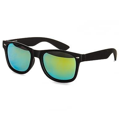 CASPAR PREMIUM Unisex Wayfarer Brille / Sonnenbrille mit gefrostetem Rahmen - viele Farben - SG018, Farbe:schwarz / blau verspiegelt