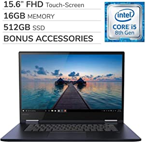 Lenovo Yoga 730 2-in-1 2019 15.6'' FHD Touch-Screen Laptop Notebook Computer,Intel 4-Core i5-8265U,16GB RAM,512GB SSD,Backlit Keyboard,No DVD,Wi-Fi,Bluetooth,Webcam,HDMI,Win 10 Home,Bonus Accessories