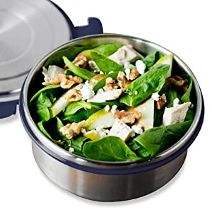 LunchBots Salad Bowl Lunch Container - 4-Cup - Leak Proof Lid - Stainless Steel Inside - Not Insulated - BPA Free, Dishwasher Safe - Navy - 4 cup