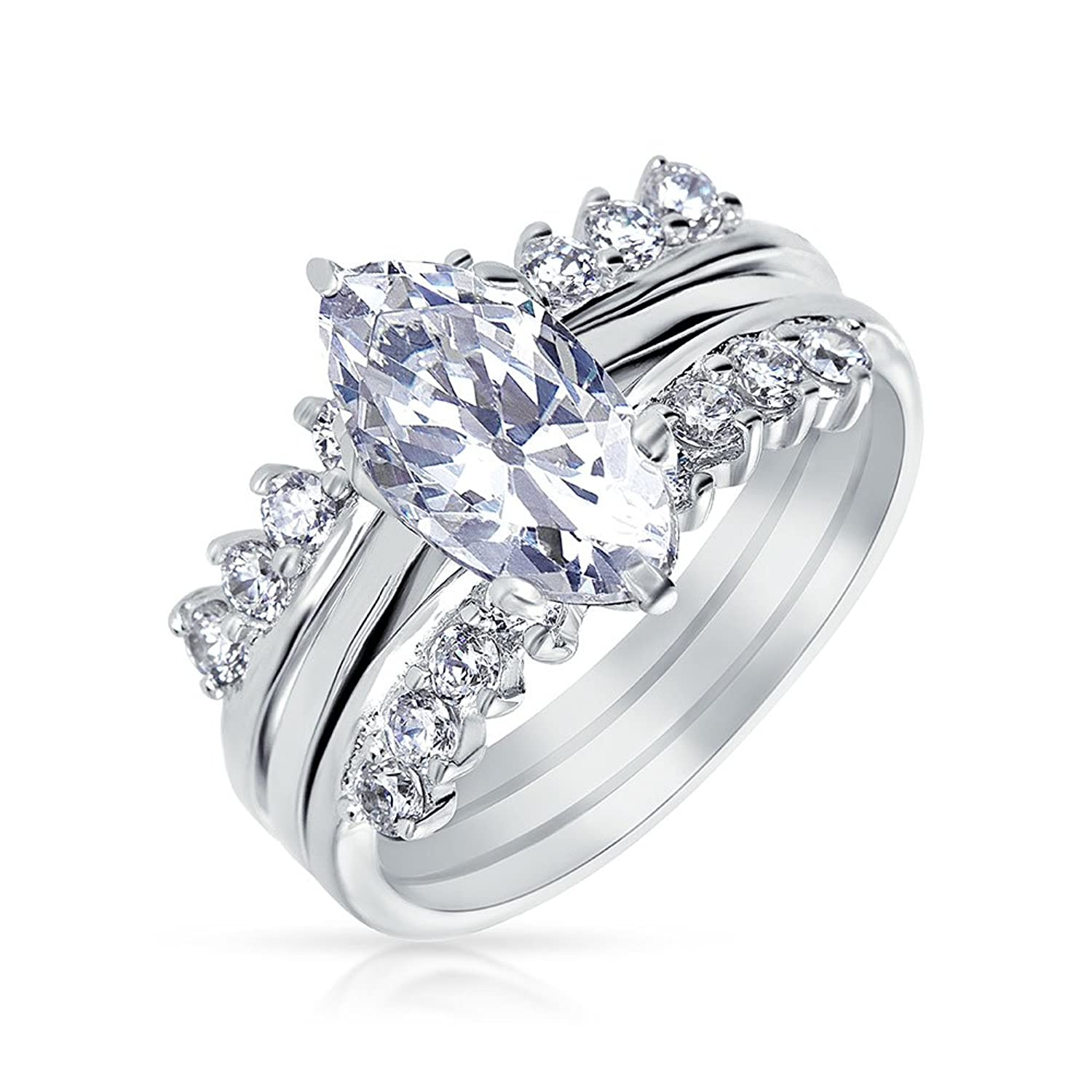 Well-liked Amazon.com: Bling Jewelry .925 Silver CZ Marquise Engagement Ring  XY28