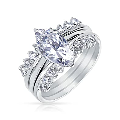 bling jewelry 925 silver cz marquise engagement ring set rhodium plated - Marquise Wedding Rings