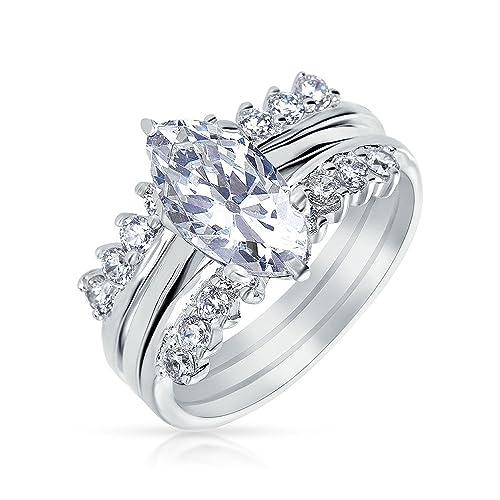 Bling Jewelry 925 Plata Corte Marquise CZ Compromiso anillo de boda con guardia chapados en Rodio