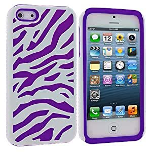 Accessory Planet(TM) Purple / White Hybrid Zebra Heavy Duty Deluxe Rugged Case Cover for Apple iPhone 5 / 5S