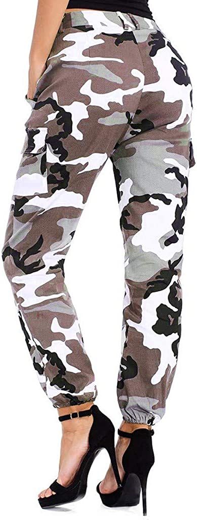 Weant Damen Cargo Hosen High Waist Camouflage Seitentaschen Hip Hop Jogger Street Hose Sweatshose Teenager M/ädchen Sporthose Capris Jogger Pants Boyfriend Jogginghose Jeans Freizeithosen