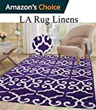 Colorful Deep Purple Dark Purple White Modern Contemporary Abstract Designer Hand Tufted 5×7 Bedroom Living Room Indoor Outdoor Rug Throw .5 Inch Thin Pile Height ( Vintage V13 Purple )