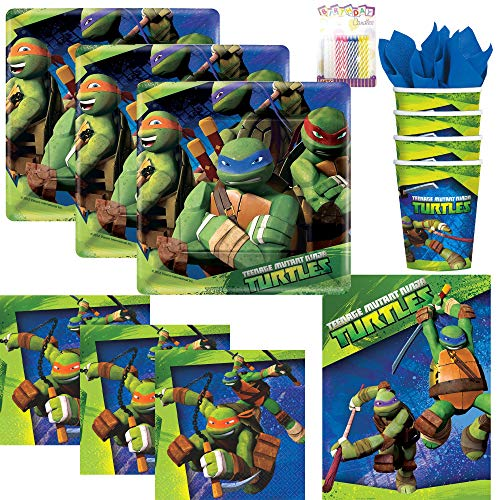 Teenage Mutant Ninja Turtles Party Supplies Pack Serves 16: Dessert Plate, Beverage Napkins, Cups, Table Cover and Birthday Candles -