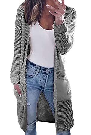 akribische Färbeprozesse heiß-verkaufendes echtes heiß seeling original Cardigan Damen Lang Herbst Winter Langarm Einfarbig Strickjacke Jungen Chic  Dicke Fashion Elegante Warm Loose Casual Strickmantel Outwear