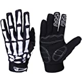 Winter WindStopper Thermal Fleece Bone Skeleton Cycling Gloves Outdoor Sport Bicycle MTB Racing Full Finger Cycling Riding Motorcycle Protective Hand Gloves for Women Men Black
