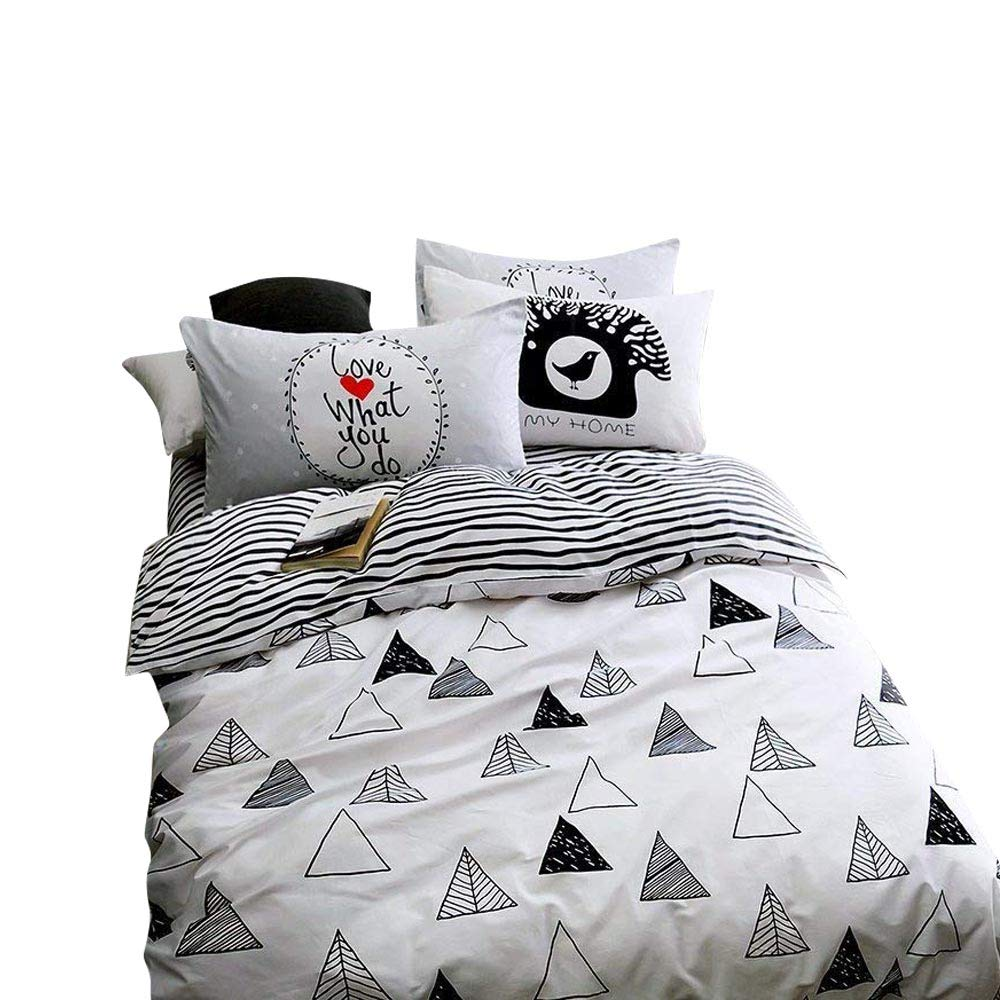 VClife Cotton Twin Duet Cover Triangle Printed Bedding Sets Chic Striped Bedding Comforter Quilt Cover Sets for Unisex Children, 3 PCS Bed Sets, No Duvet, Gift for Wedding Party Anniversaries, Twin