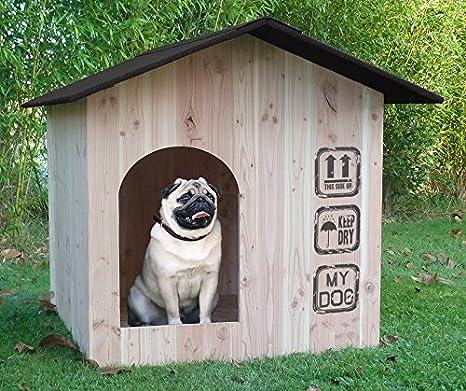 Caseta Madera Picea tejado negro Made in France: Amazon.es: Productos para mascotas