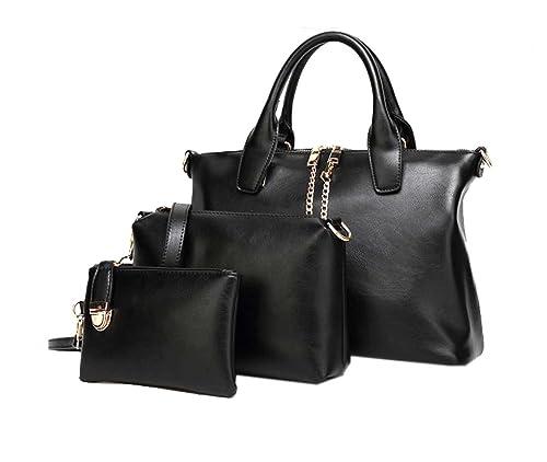 DI GRAZIA Women s Black Polyester 3 in 1 Combo of Handbag Satchel ... 3171262df50aa