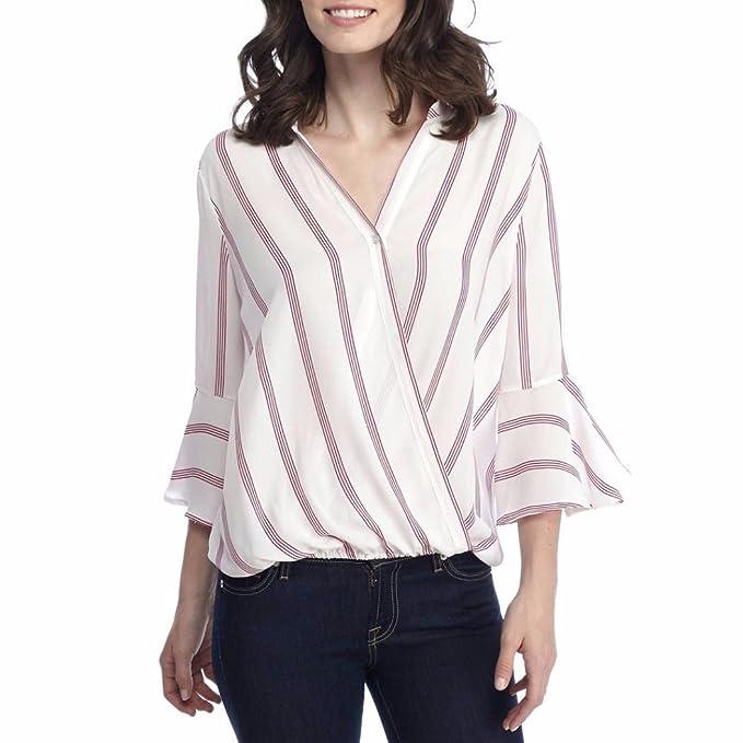 SUCES Damen Freizeit V-Ausschnitt Manschetten-Ärmel Locker Shirt Bluse  Oberteile 3 4 c98b1b2056