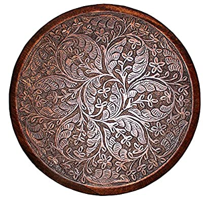 Cotton Craft Mango Wood Hand Carved Accent Pedestal Table - Antique Brown - Handcrafted Carved Wood Accent Table - 18 Round Top x 18 High - Intricate detail...