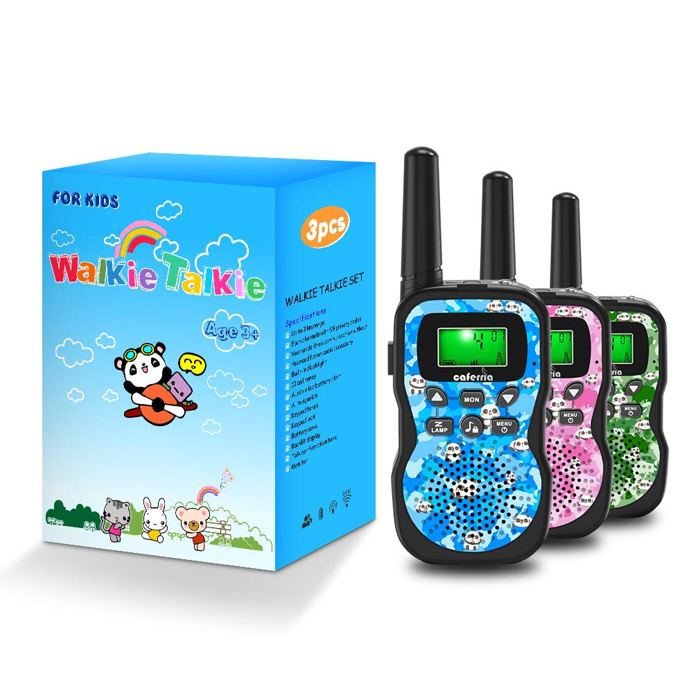 Caferria Kids Walkie Talkies, 22 Channel 2 Way Radio 3 Miles Range Walkie Talkies for Kid with Backlit LCD Flashlight Boys Girls Gift 3 Pack Children Toy Outdoor Adventure, Camping, Hiking (Panda) by Caferria (Image #6)