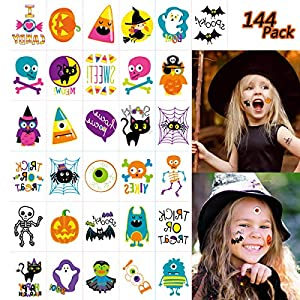 EaNy Toys 144 PCS Halloween Temporary Tattoo, Waterproof Pumpkin Tattoos Stickers for Kids Children Party Favors, 72 Patterns